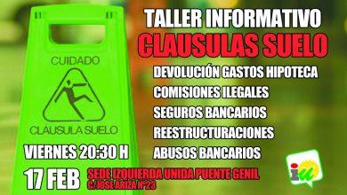 Photo of IULV-CA Puente Genil celebra un taller sobre reclamaciones ante cláusulas suelo y otros abusos bancarios